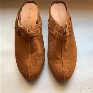 Brown suede clogs